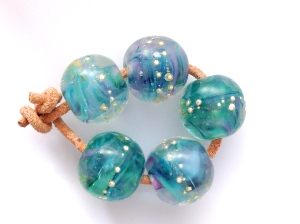 Teal Waves Bead Set - Sold